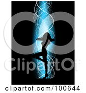 Royalty Free RF Clipart Illustration Of A Sexy Silhouetted Female Dancer With One Leg Raised Over A Black Background With Blue Light And White Ribbons by KJ Pargeter