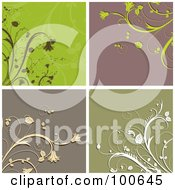 Royalty Free RF Clipart Illustration Of A Digital Collage Of Four Floral Corner Design Elements by KJ Pargeter