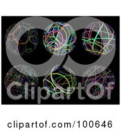 Royalty Free RF Clipart Illustration Of A Digital Collage Of Six Scribbled Spheres by KJ Pargeter