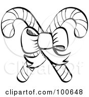 Royalty Free RF Clipart Illustration Of A Coloring Page Outline Of A Bow Tying Together Two Christmas Candy Canes by Andy Nortnik