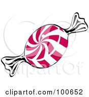 Piece Of Red And White Swirl Peppermint Candy In A Wrapper
