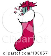 Royalty Free RF Clipart Illustration Of A Red Christmas Stocking Stuffed With Gifts And Candy