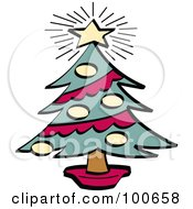 Bright Star Atop A Trimmed Christmas Tree