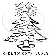 Coloring Page Outline Of A Bright Star Atop A Trimmed Christmas Tree