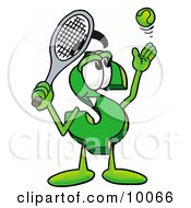 Clipart Picture Of A Dollar Sign Mascot Cartoon Character Preparing To Hit A Tennis Ball