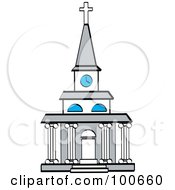Royalty Free RF Clipart Illustration Of A Beautiful Church Facade With A Clock Tower And Columns by Andy Nortnik