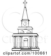 Royalty Free RF Clipart Illustration Of A Coloring Page Outline Of A Church Facade With A Clock Tower And Columns by Andy Nortnik