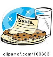 Santa Letter On A Plate Of Cookies Served With Milk