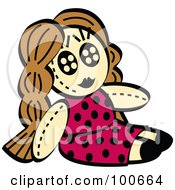 Little Girls Dol In A Pink Polka Dot Dress