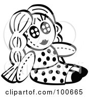 Royalty Free RF Clipart Illustration Of A Black And White Little Girls Dol In A Polka Dot Dress by Andy Nortnik