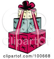 Tower Of Three Wrapped Presents And A Red Ribbon And Bow