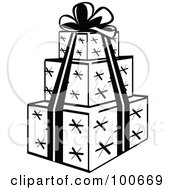 Black And White Tower Of Three Wrapped Presents And A Ribbon And Bow