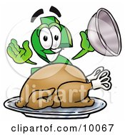 Clipart Picture Of A Dollar Sign Mascot Cartoon Character Serving A Thanksgiving Turkey On A Platter by Toons4Biz