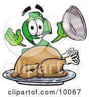 Dollar Sign Mascot Cartoon Character Serving A Thanksgiving Turkey On A Platter by Toons4Biz