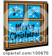 Window Decorated With Festive Christmas Holly And Greetings