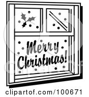 Black And White Window Decorated With Festive Christmas Holly And Greetings
