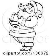 Royalty Free RF Clipart Illustration Of A Coloring Page Outline Of Santa Holding His Chest And Laughing