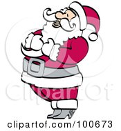 Santa Holding His Chest And Tilting His Head Back In Laughter