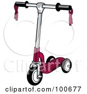 Royalty Free RF Clipart Illustration Of A Red Childs Scooter With Ribbons On The Handle Bars by Andy Nortnik