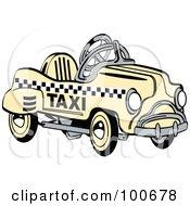 Retro Yellow Toy Pedal Taxi Car