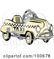 Royalty Free RF Clipart Illustration Of A Retro Yellow Toy Pedal Taxi Car by Andy Nortnik