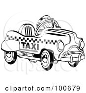 Royalty Free RF Clipart Illustration Of A Retro Black And White Toy Pedal Taxi Car