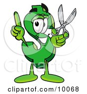 Clipart Picture Of A Dollar Sign Mascot Cartoon Character Holding A Pair Of Scissors