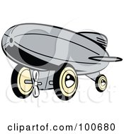 Royalty Free RF Clipart Illustration Of A Retro Gray Wind Up Toy Blimp by Andy Nortnik