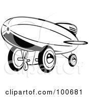 Royalty Free RF Clipart Illustration Of A Retro Black And White Wind Up Toy Blimp