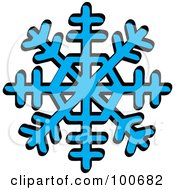 Blue Winter Snowflake With Eight Tips