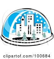 Royalty Free RF Clipart Illustration Of A Snow Globe With A City And Trees by Andy Nortnik