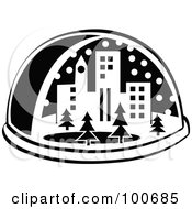 Royalty Free RF Clipart Illustration Of A Black And White Snow Globe With A City And Trees by Andy Nortnik