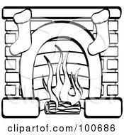 Royalty Free RF Clipart Illustration Of A Coloring Page Outline Of A Fireplace With Two Christmas Stockings by Andy Nortnik