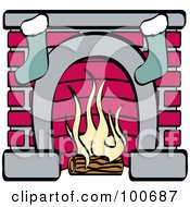 Royalty Free RF Clipart Illustration Of A Burning Log In A Fireplace With Two Christmas Stockings by Andy Nortnik