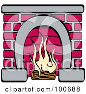 Royalty Free RF Clipart Illustration Of A Log Burning In A Red Brick Fireplace