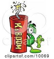 Dollar Sign Mascot Cartoon Character Standing With A Lit Stick Of Dynamite by Toons4Biz