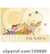 Royalty Free RF Clipart Illustration Of A Happy Thanksgiving Greeting With Harvested Produce And Leaves 3 by MilsiArt