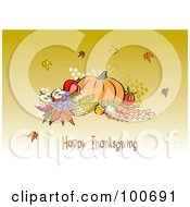 Royalty Free RF Clipart Illustration Of A Happy Thanksgiving Greeting With Harvested Produce And Leaves 4 by MilsiArt