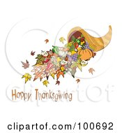 Royalty Free RF Clipart Illustration Of A Horn Of Plenty With Happy Thanksgiving Text by MilsiArt