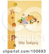 Royalty Free RF Clipart Illustration Of A Happy Thanksgiving Greeting With Harvested Produce And Leaves 1 by MilsiArt