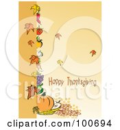 Royalty Free RF Clipart Illustration Of A Happy Thanksgiving Greeting With Harvested Produce And Leaves 2 by MilsiArt