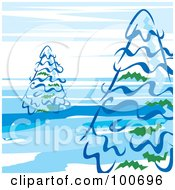 Royalty Free RF Clipart Illustration Of Evergreen Trees Against A Blue And White Sky by MilsiArt