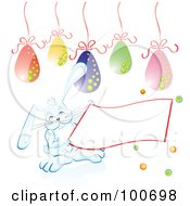 White Easter Bunny Holding A Blank Banner Under Eggs