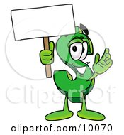 Clipart Picture Of A Dollar Sign Mascot Cartoon Character Holding A Blank Sign