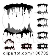 Royalty Free RF Clipart Illustration Of A Digital Collage Of Dripping Vampire Teeth Some With Blood by MilsiArt