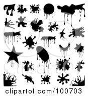 Digital Collage Of Black Splatter Design Elements With Drip Lines