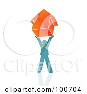 Royalty Free RF Clipart Illustration Of A Man Holding Up An Arrow Pointing Upwards by MilsiArt