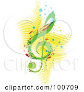 Abstract Floral Music Note With Splatters Over Yellow Halftone