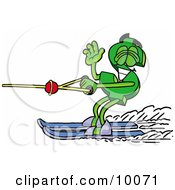 Dollar Sign Mascot Cartoon Character Waving While Water Skiing by Toons4Biz
