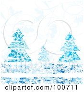 Royalty Free RF Clipart Illustration Of Blue Evergreen Trees Against A Floral Background by MilsiArt